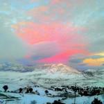 تصاویر زیبا از طبیعت برفی و غروب آفتاب / روستای اراء چهاردانگه